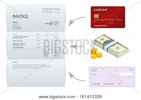 Isometric single Invoice, Bank check, cash and credit cards. Payment and billing invoices, business or financial operations sign. Vector concept for services rendered