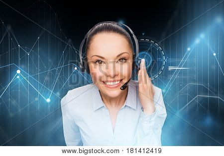 business, customer service and people concept - female helpline operator with headset over virtual diagram charts and black background