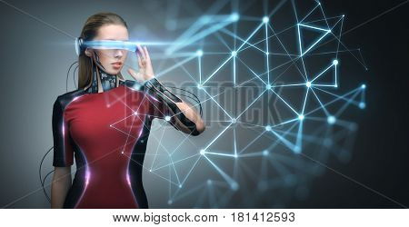 augmented reality, technology, business, future and people concept - woman in virtual glasses and microchip implant or sensors looking at low poly network projection