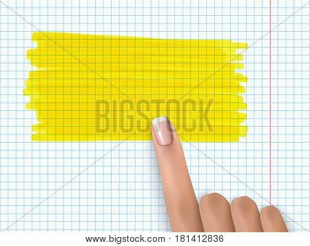 Finger Pointing Notebook Paper Marker Highlight Note