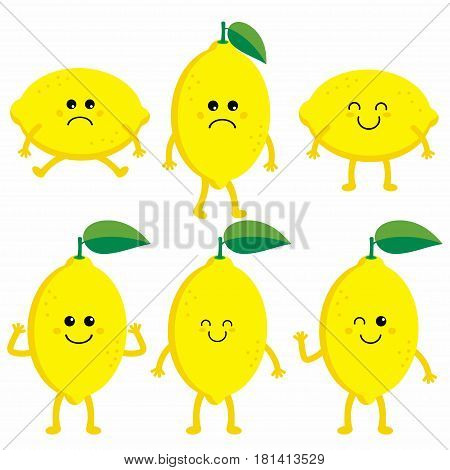 set cartoon lemons happy lemon cute fruit vector character set isolated on white lemon with different emotions