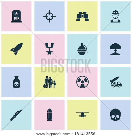 Combat Icons Set. Collection Of Dangerous, Atom, Missile And Other Elements. Also Includes Symbols Such As Bomb, Refugee, Glass.