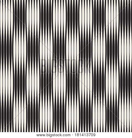 Wavy stripes vector seamless pattern. Retro abstract wavy texture. Geometric lines monochrome design.