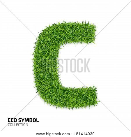 Letter of grass alphabet. Grass letter C isolated on white background. Symbol with the green lawn texture. Eco symbol collection. Vector illustration