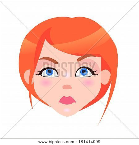 Young woman serious face icon. Pretty redhead girl with flush and blue eyes strictness facial expression isolated flat vector. Female cartoon portrait illustration for women emotions concept