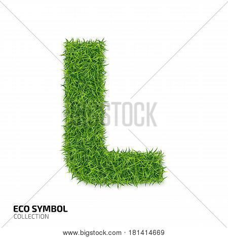 Letter of grass alphabet. Grass letter L isolated on white background. Symbol with the green lawn texture. Eco symbol collection. Vector illustration