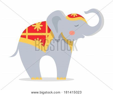 Cure elephant in ornamented cape icon. Cute elephant with raised trunk cartoon flat vector isolated on white background. Trained exotic circus animal illustration for travel concepts, logos, web