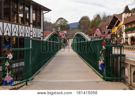 Helen Georgia USA - December 14 2016: The bridge over the Chattahoochee river on the Main Street