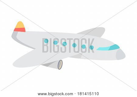 Airplane cartoon icon. Passenger aircraft flat vector isolated on white background. Civil aviation plane illustration for travel and transport concepts, airline company ad, web design and logos