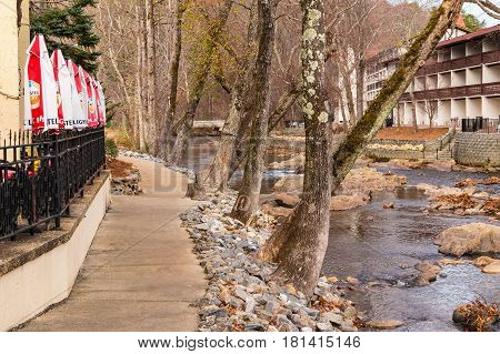 Helen Georgia USA - December 14 2016: View of the Chattahoochee river and the buildings on its shore