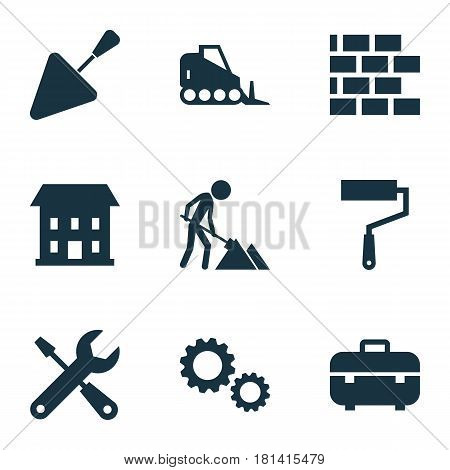 Building Icons Set. Collection Of Tractor, Cogwheel, Wall And Other Elements. Also Includes Symbols Such As Brickwork, Tractor, Brick.
