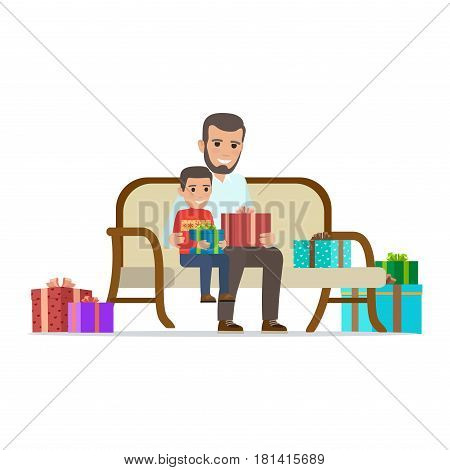 Father and son sit on sofa, smile and hold presents among other presents on white background. Father and son exchange Christmas gifts. Happy family moment christmas-themed vector illustration.