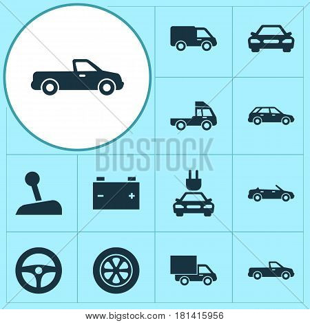 Automobile Icons Set. Collection Of Van, Truck, Auto And Other Elements. Also Includes Symbols Such As Van, Plug, Lever.