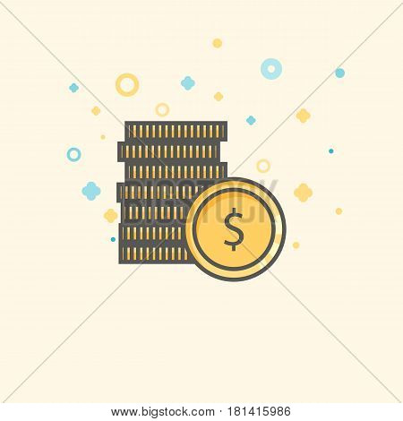 Business icon, management. Simple vector icon of a stack of coins. Flat style.