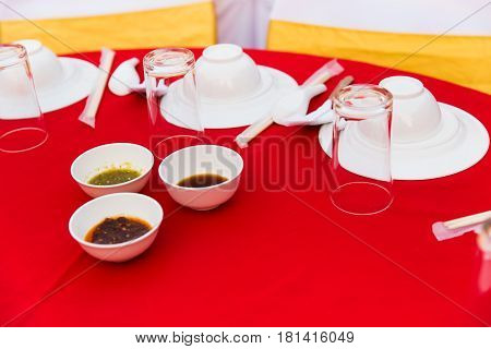 Prepare table of Chinese food party in wedding.
