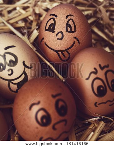 closeup of some brown different eggs with funny faces on a pile of straw