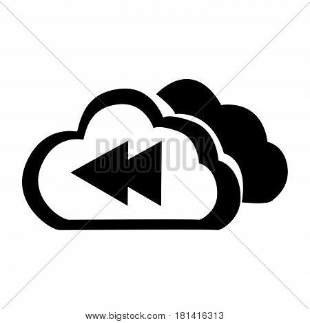 Flat Black Cloud Previous Button Icon