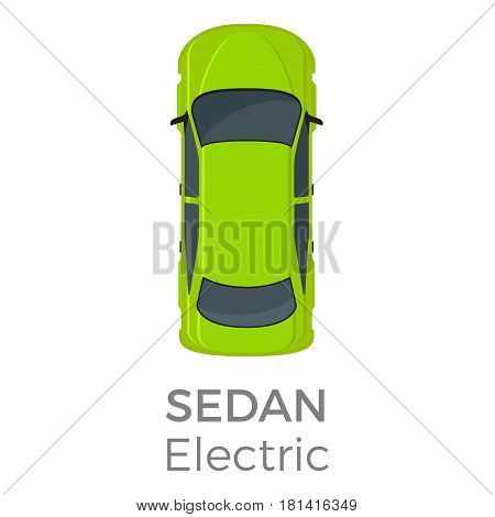 Electric sedan top view icon. Modern passenger car roof view with text flat vector isolated on white background. Personal pasenger vehicle illustration for urban transport concepts and infographics