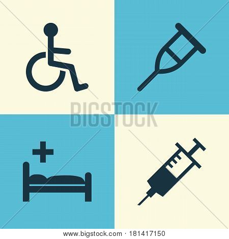 Antibiotic Icons Set. Collection Of Disabled, Polyclinic, Stand Elements. Also Includes Symbols Such As Stand, Clinic, Nurse.