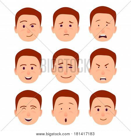 Young male redhead character face that expresses emotions of happiness, sarcastic grin, absolute bewilderment, strong anger and complete shock vector illustration. Facial exertion of feelings.