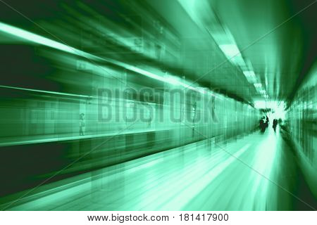 High Speed Business And Technology Concept, Acceleration Super Fast Speedy Motion Blur Of Train Stat