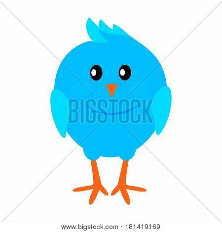 Little funny blue bird flat style vector icon isolated on white background. Fairy or rare animal. Cute small colorful bird cartoon illustration for applications, logos or web design