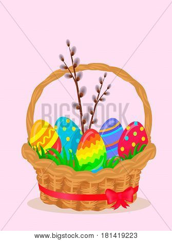 Paschal wattled basket. Wicker basket coiled red ribbon with pussy willow brunch and bright painted easter eggs on green grass vector. Easter festive concept for holiday greeting cards design