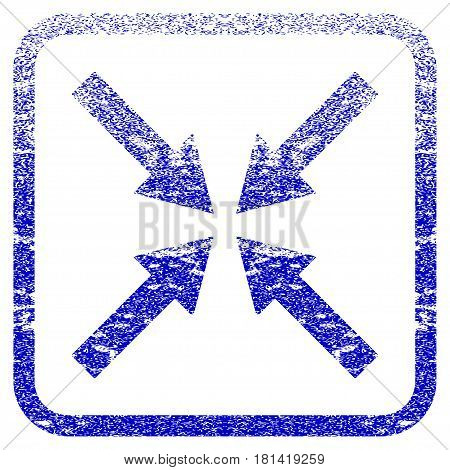 Center Arrows textured icon for overlay watermark stamps. Blue vectorized texture. Flat vector symbol with unclean design inside rounded square frame. Framed blue rubber seal stamp imitation.