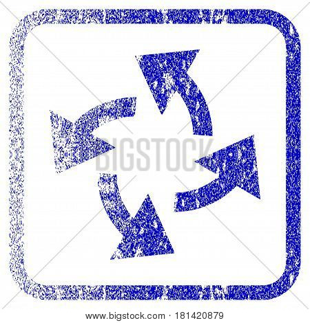 Centrifugal Arrows textured icon for overlay watermark stamps. Blue vectorized texture. Flat vector symbol with unclean design inside rounded square frame. Framed blue rubber seal stamp imitation.