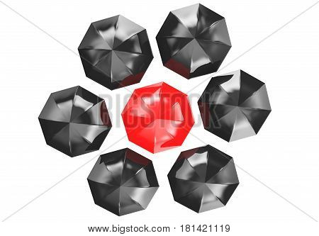 3d illustration of a red umbrella in the middle of several black umbrellas
