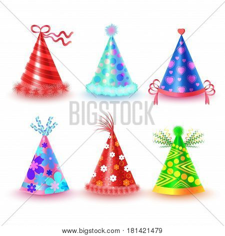 Decorated with ribbons and pompons party hats set. Stripped, spotted and ornamented paper caps for festive costumes isolated illustrations. Birthday or New Year party dressing element vector icons