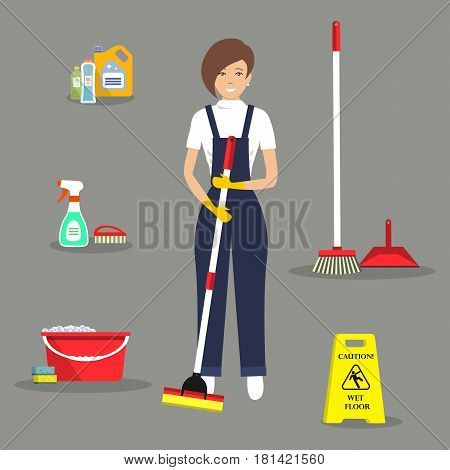 Cleaning lady and her cleaning staff. Young woman with a mop standing on a gray background. There is also a