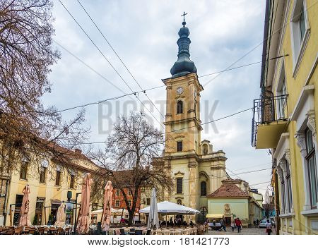 CLUJ-NAPOCA ,ROMANIA - MARCH 20,2017 - Franziskan church of Cluj - Napoca. Cluj-Napoca is located in the central part of Transylvania.