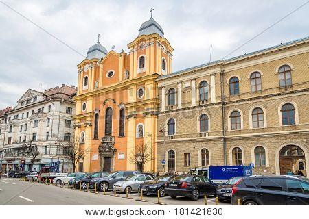 CLUJ-NAPOCA, ROMANIA - MARCH 20,2017 - In the streets of Cluj - Napoca. Cluj-Napoca is located in the central part of Transylvania.