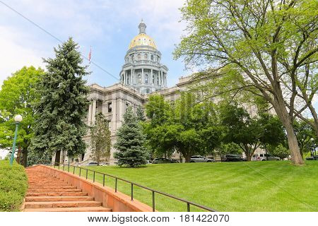 Stairs Leading Up To The Colorado State Capitol