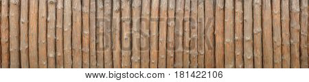 Logs In A Row. Brown Wood Log Wall Surface Background