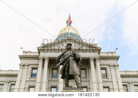 Colorado State Capitol And Civil War Monument