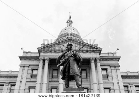 Colorado State Capitol And Civil War Monument In Monochrome