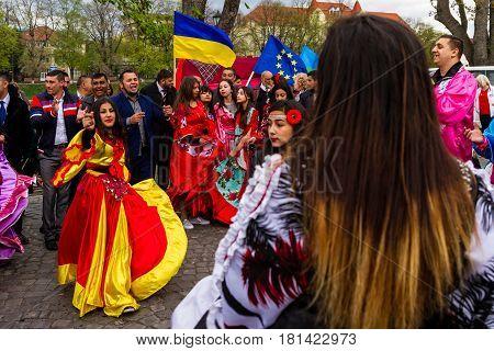 Uzhhorod Ukraine - April 7 2017: Participants in the celebration of the International Roma Day perform Romany folk dances in the city center.