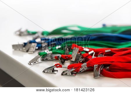 Colored lanyard for id cards and badges on white background