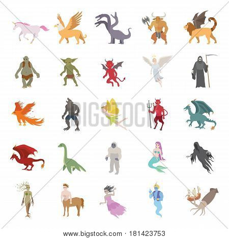 25 Mythical creatures color vector icons collection