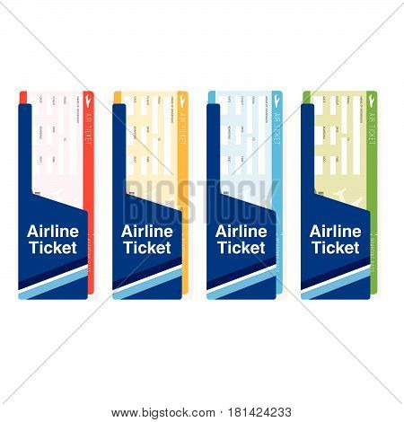 Air Ticket Boarding Travel Set In Color Illustration