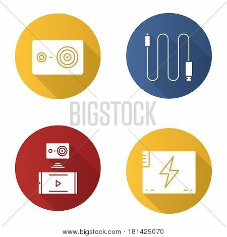Action camera flat design long shadow icons set. Mini USB cable, battery, action camera to smartphone wireless connection. Vector silhouette illustration