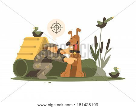 Cynologist training hunting dog on special site. Vector flat illustration