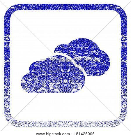 Clouds textured icon for overlay watermark stamps. Blue vectorized texture. Flat vector symbol with dust design inside rounded square frame. Framed blue rubber seal stamp imitation.