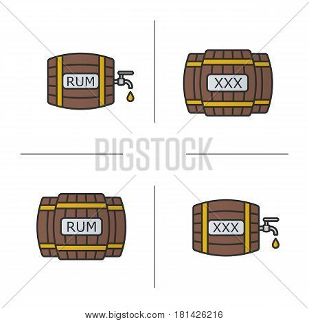Alcohol wooden barrels color icons set. Rum or whiskey wooden barrels with tap, drop and xxx sign. Isolated vector illustrations