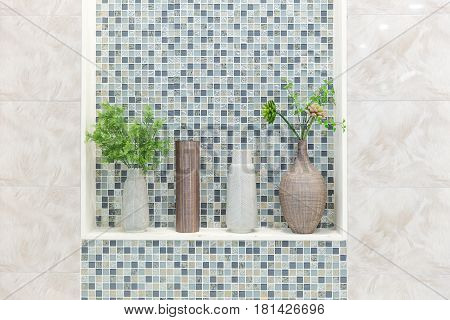 bathroom restroom or toilet nature decoration with ceramic glazed tile clean modern house.