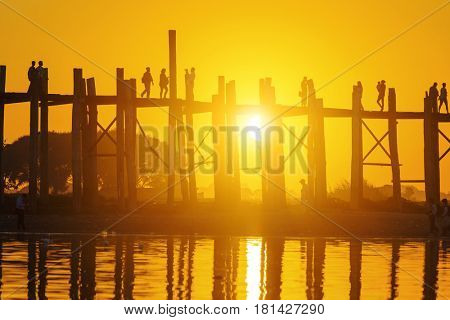 U bein bridge at sunset, Myanmar landmark in mandalay