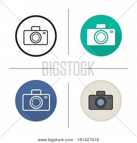 Photo camera icon. Flat design, linear and color styles. Slr vintage photocamera. Isolated vector illustrations