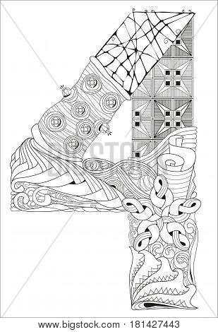 Hand-painted art design. Adult anti-stress coloring page. Black and white hand drawn illustration for coloring book. Number four zentangle object.